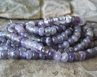Big Hole Amethyst Rondelle Bead 2.5  Large Hole 8mm Purple Stone Fits Leather 35 beads