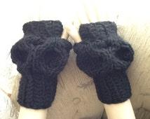 Custom Order - La Luna Slouchy Gloves - Hand Knit Gloves / Crochet Gloves / Knitted HAND WARMERS / Fingerless Gloves / Crochet HandWarmers