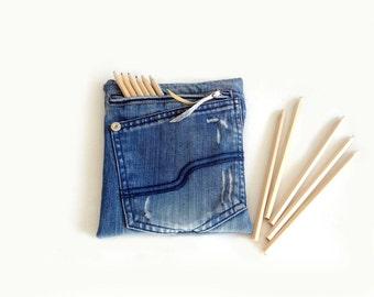 Pencil case jeans fabric