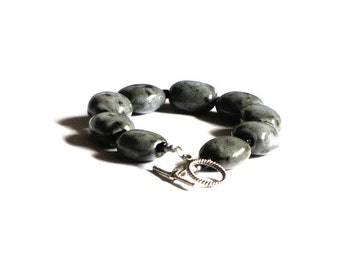Bohemian Grey Ceramic Beaded Bracelet Silver Black Gifts For Her Under 20