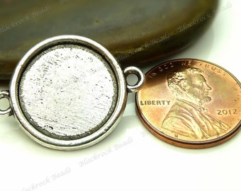 10 Cabochon Connector Settings Antique Silver Tone - Fits 14mm Cab, Round Bezel Trays, Cameo Base, Pendant Blank, 2 Loops - BK10
