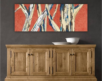 Extra Large Wall Art Long Artwork Giclee Canvas Print Modern Landscape Tree Trunks Living Dining