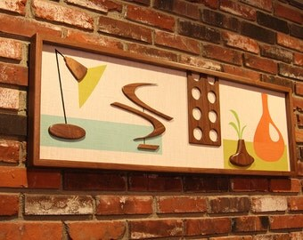 Mid Century Modern Wall Art  Painting Sculpture Atomic Retro Eames Era