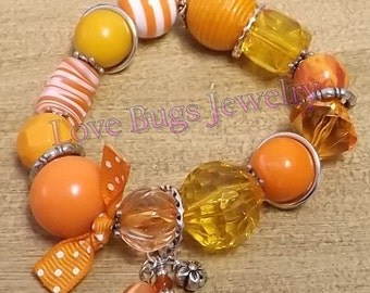 Citrus Explosion  - Beaded Stretch Bracelet, Orange Beaded Bracelets, Orange Bracelet, Stretchy Bracelets, Gemstone Bracelet,