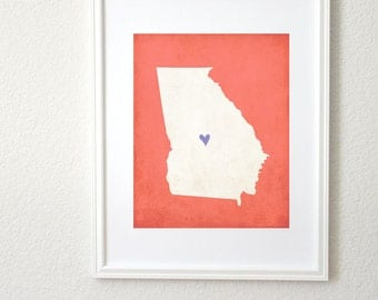Georgia Silhouette State Map Customizable Art Print