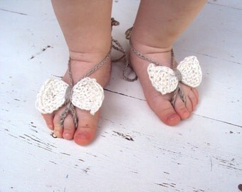 Baby Bow Barefoot, 100% linen Knitted/Crochet Baby Barefoot Sandals, White Bow Barefoot