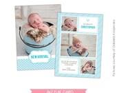 INSTANT DOWNLOAD - Birth announcement template- E480