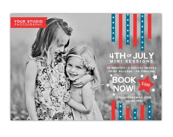 INSTANT DOWNLOAD - 4th of July - Photography Marketing board - Psd Newsletter  template - E1049
