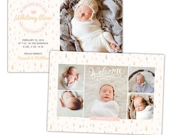INSTANT DOWNLOAD - Photoshop Birth announcement template -  e1062