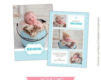 INSTANT DOWNLOAD - Birth announcement template- E480