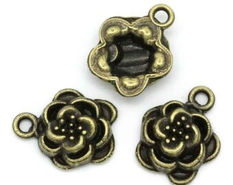 10 Flower Charm Rose Charms Antique Bronze 15 x 12 mm - bz262