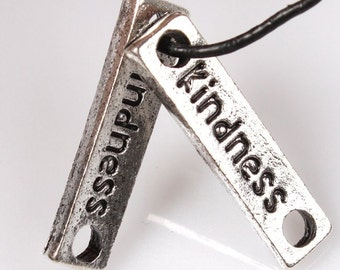 6 KINDNESS Connector Charm, 20 x 12 mm Antique Silver - cn129