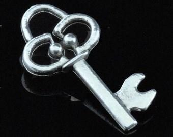 Key Charm 6 Charms Antique Silver Tone 19 x 10 mm  - ts358
