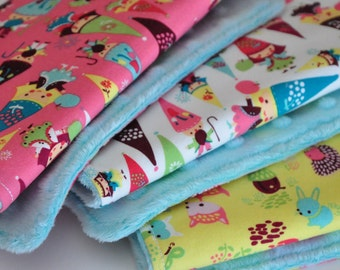 Sale, BABY Burp cloths-set of 3, Fairyville, Gnomes and Woodland Animals