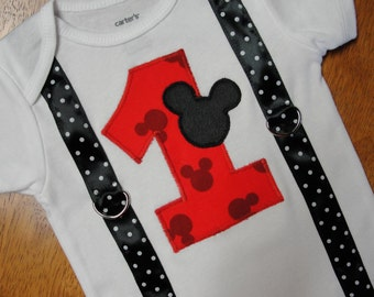 READY TO SHIP! Boys Mickey Mouse First Birthday Bodysuit, Boy Cake Smash Outfit, Mickey Print with Suspenders Mickey Party