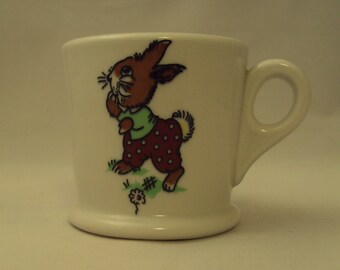 Vintage Mayer China Toyland Child's Children's Cup Mug Nursery Duck Doll Rabbit