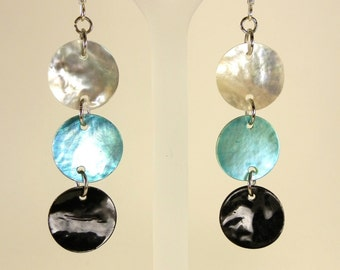 Teal, Black & White Drop Earrings