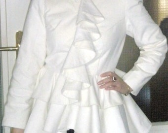 CUSTOM MADEAlexander Mcqueen inspired ruffle trim tailcoat - as worn by Kate Middleton