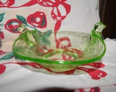 Vintage Depression Green Vaseline/ Uranium Glass Bowl Candy Dish - Birds on Nest  - Fenton