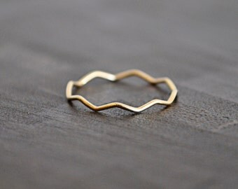 14 karat solid  GOLD  stacking band / RING size 6.knuckle ring .