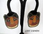 Cat Kitty Earrings Designer Lee Sands