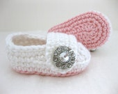 Spring Baby Infant Girl Shoes / Booties - Light Pink & White Jewel - YOUR choice size - (newborn - 12 months) - photo prop - children