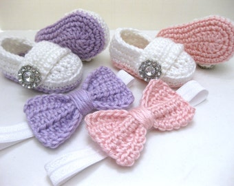 Twin Baby Girls, Baby Shoes, Headband, Hair Bow, Newborn Photos, Photo Prop, Crib Shoes, Baby Shower Gift, Crochet