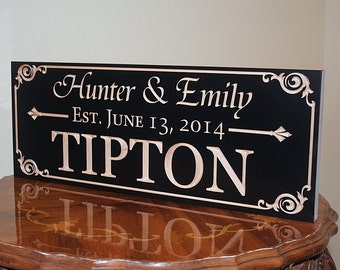 Family Name Sign, Family Established Sign, Custom Date Sign, Personalized Wedding Sign, Custom Wedding Gift, Benchmark Signs, Maple  AA