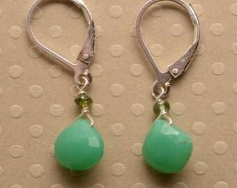 Chrysoprase Earrings, May Birthstone, Green Gemstone Earring, Spring Earring, Silver Leverback