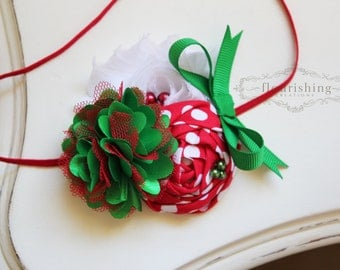 Red and Green Christmas headband, holiday headbands, newborn headbands, red headbands, red and green headbands, photography prop