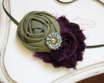 Olive and Plum  headband, purple headbands, newborn headbands, flower headbands, olive headbands, photography prop