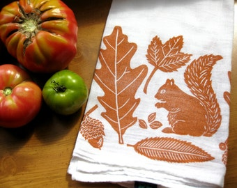 Autumn Leaves & Squirrel Towel in pumpkin, block print, flour sack towel (made to order)