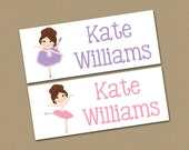Personalized Waterproof Label Stickers - Perfect for Bottles, Sippy Cups, Daycare, School - Dishwasher Safe - girl - ballet- balerina - 070