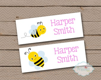 Personalized Waterproof Label Stickers - Bumblebee - Perfect for Bottles, Sippy Cups, Daycare, School - Dishwasher Safe - 62b