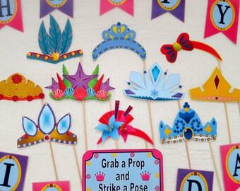 PDF - Princess Photo Booth Props for Birthday Party - Tiara / Crown - PRINTABLE / DIY