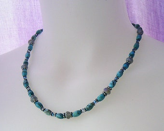 Amanda - Blue Matrix Stone Necklace