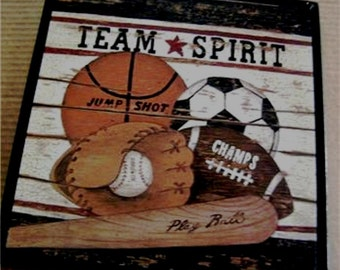 Baseball Basketball Soccer Football Wood Sign  Sports Wall Picture Decor