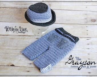Newborn Fedora Hat an Pants-Grayson Fedora-Summer-Baby Photo Prop