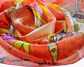 Hand painted silk shawl Red Orhids Painted silk shawl Hand Painted silk scarf Orange silk shawl Painting silk shawl Painted on hand Orhids