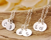 Bridesmaid Necklace Set of 2 to 10 - initial necklace, personalized jewelry, silver disk necklace, bridesmaid gift set, bridal jewelry, BR