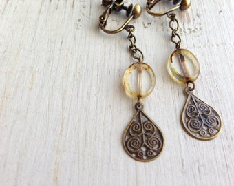 Metal Teardrops with Clear Brown, Clip On Earrings, Long Chained Clip Earrings, Screw Back Clip on