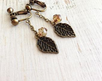 Metal Leaf Clip on Earrings, Topaz Rose Buds Ear Clips, Screw Back Clip-on, Antique Brass Clip earring, Cute clip on