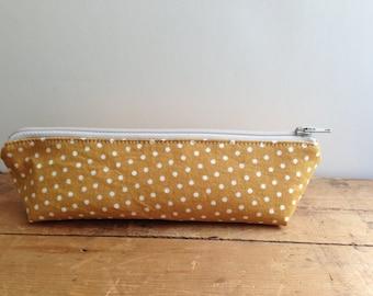 Mustard Yellow with Dots Pencil Case, Zipper Pencil Pouch, Handmade Pouch, Cute Pencil Pouch, Triangle zipper bag