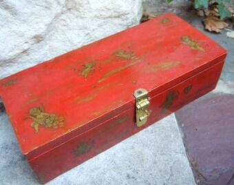 Cherry Red Hand Painted Cherub Decal Jewelry Box