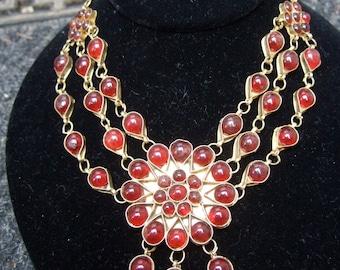 Opulent Ruby Glass Cabochon Multi Strand Necklace