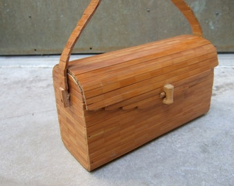 Unique Wood Box Style Handbag c 1970