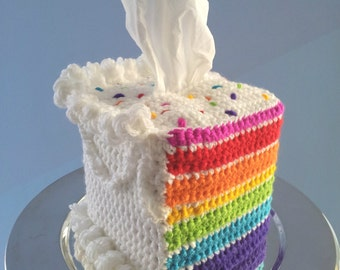 Custom-made Crocheted Layer Cake Novelty Tissue Box Cozy Cover Rainbow