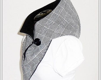 Hooded Scarf - black and white