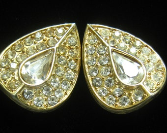 CLEARANCE Rhinestone Clip Earrings have Teardrop Shape with Angled Sides.  Center Rhinestone is Surrounded by 2 Rows of Pave Stones.
