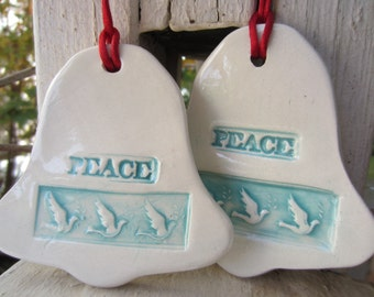 Two Blue Bells of Peace Ceramic Wall Hangings